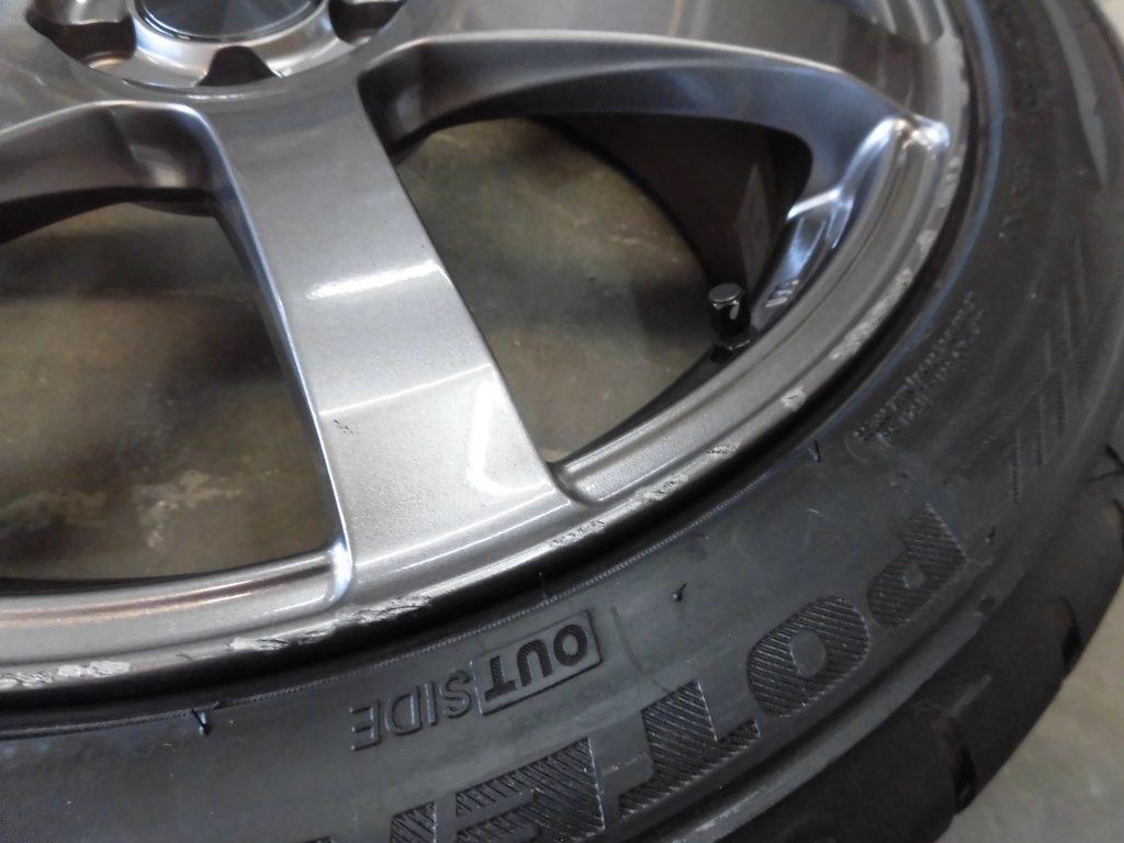立川市 ガンメタ塗装ホイール傷修理
