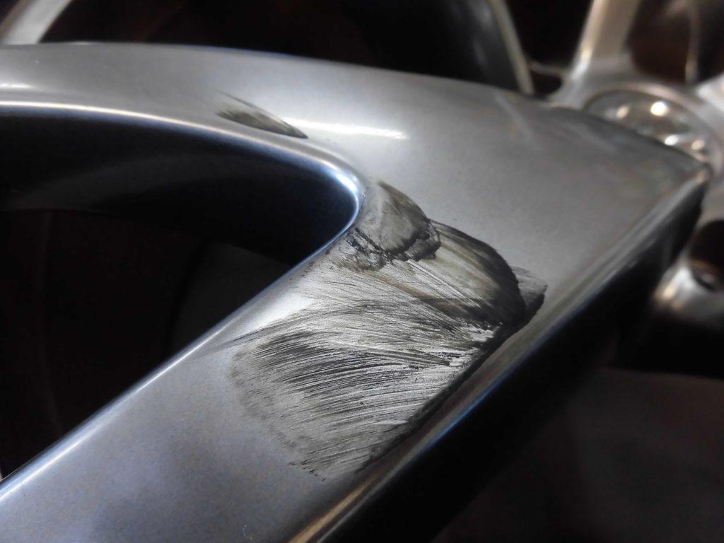 調布市 RAYSハイパーシルバーホイール傷修理